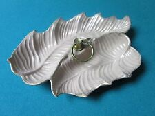 CERAMIC dish leaf shaped marked made in USA # 104 metal handle 11 X 9 [4-MET]