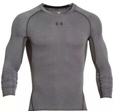 Under Armour Mens HeatGear L/S Compression Shirt, Large-grey.