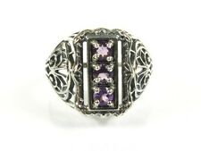 .50ctw Natural Round Cut Amethyst Victorian Deco 925 Sterling Filigree Ring s7
