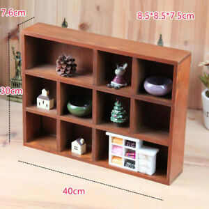 Wooden Wall Shelf Organizer Display Rack Cabinet with 10 Compartments