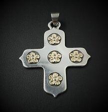 Rare Retired James Avery Sterling Silver 14k Gold Buttercup Cross Pendant PG530