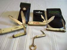 5 pocket knives & cases Coca Cola,Uslter,Case xx,2 mini knives