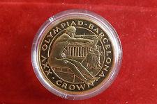 *Gibraltar 1 Crown 1992 PP(Vergoldet)*Olympia Barcelona 1992 (6) (BOX2)