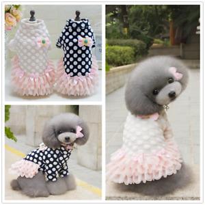 Cute Sweet Pet Puppy Dog Apparel Dot Cotton Dress Costume Princess Skirt Spring