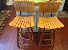 Antique Vintage Solid Wood Chairs Tall High Iron Set Of 2