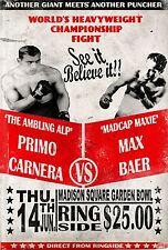 PRIMO CARNERA vs MAX BAER 8X10 PHOTO BOXING POSTER PICTURE