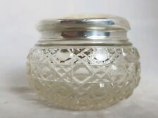 Beautiful Antique Cut Glass Pot Hall Marked  Solid Silver Lid (Height - 7 cm)