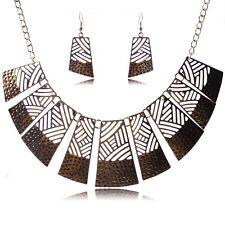Golden Geometric  Collar Bronze/Tibet silver chain Necklace earrings jewelry set