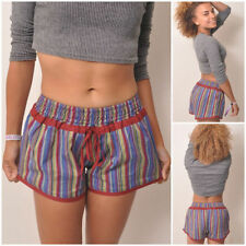 Striped Cotton High Rise Shorts for Women
