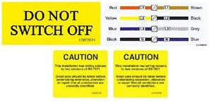 Electrical Warning Stickers Caution BS7671 Do Not Switch Off & New Wiring Colour