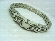 Mens Bracelet Stainless Steel 316L Wristband Bangle Gift for Man w/ CZ Cable