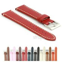 StrapsCo Genuine Calf Leather Watch Band Mens or Women Contrast Stitching Strap