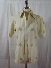Classy Vtg WOMENS SPRING BLOUSE Sz M Ivory Linen Embroidered Cutwork Medallions