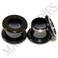 1465 Screw-on / fit Black 00G Gauge 10mm Flesh Tunnels Ear Plugs Earlets Steel