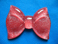 10 Large Glitter Resin Hair Bow Flatback-Red B175