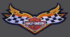 HARLEY DAVIDSON CHECKER FLAG EMBROIDERED RACING RETRO PATCH