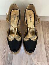 MIU MIU Gold & Black Satin & Leather Platform Heels in Size 37
