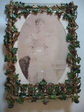 Antique English Ornate Metal Picture Frame  - Grapevine, Trellis & Birds