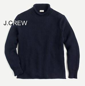 J.CREW roll neck sweater navy blue cotton chunky rollneck mock high fisherman's