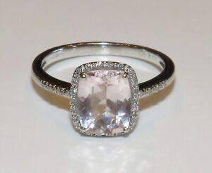 9ct White Gold Rose De France Amethyst & Diamond Ring size S