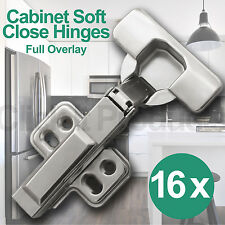16 x Soft Close Cabinet Door Hinges Full Overlay Clip on Cupboard Hydraulic