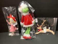 3 Pottery Barn Kids SEUSS GRINCH Cindy Lou MAX Plush ORNAMENT Christmas TREE NEW