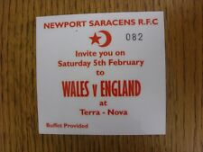 05/02/2005 Rugby Union Ticket: Wales v England [At Cardiff Arms Park] [Newport S