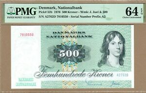 DENMARK: 500 Kroner Banknote,(UNC PMG64),P-52b, 1976, No Reserve!