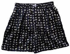"Mens Thai Silk Boxer shorts / Underwear / 36""- 39"" / Black with White Elephants"