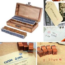 Vintage Alphabet Number Pattern Rubber Stamp 30pcs with Wooden Box Craft