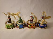 Mr. Christmas Santa/Snowman/Tree/Nutcracker Glass Wind Up Ornaments Set of 4
