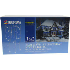 360 Blue And White Snowing Icicle Indoor Outdoor Christmas Lights Ultra Bright