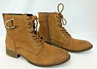 ALDO Brown Leather Lace Up/Side Zip Mid Calf Ankle Boots Women's Size 7