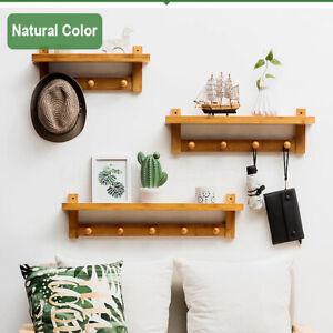 3/4/5/6 Hook Rack Wall Mount Hanger Key Coat Hat Wooden Shelf Bamboo Holder