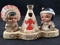Vintage Made in Japan Non Native America Salt and Pepper Shaker Three-Piece Set