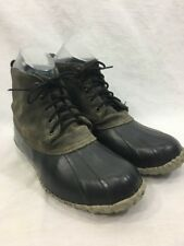 Sorel Duck Hunting Snow Boots Mens 10.5 Rubber Leather Suede Gray Lace Up Canada