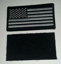 "US FLAG Patch Black and White with Hook and Loop Backing 3"" x 2""   2 patch lot"