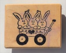 PSX Wood Mounted Rubber Stamp (1988) BUNNIES IN A WAGON C-903