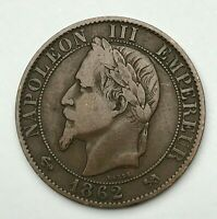 Dated : 1862 K - France - Cinq Centimes - 5 Centimes Coin - Napoleon III