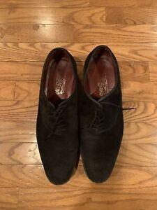 Men's Black Suede Shoes Salvatore Ferragamo US13D Very good vibram sole italy