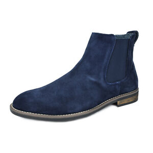 Mens Slip On Chelsea Ankle Boots Suede Leather Chukka Dress Desert Boots Allsize