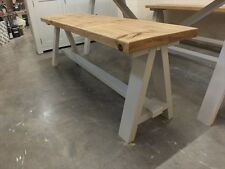 SHABBY CHIC PAINTED A-FRAME 5' LOW BENCH BESPOKE SIZES & COLOURS F&B PARMA GRAY