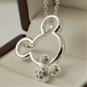 925 Silver Plt Mickey Minnie Mouse Clear CZ Pendant Necklace Gift Idea