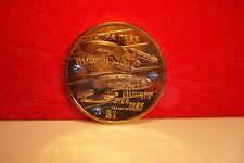 24k gold star trek enterprise $1 coin made with blue Swarovski Crystals and COA.