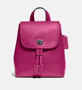 NWT COACH 3334 Leather Turnlock Backpack Bag Cerise $350
