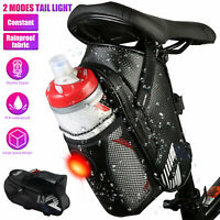 Waterproof Bicycle Saddle Bag Bike Seat Storage Pouch Cycling Bags w/Tail Light