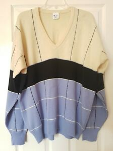 Men's Multi Colour Stripped 100% Lambswool Long Sleeve Wool Jumper UK Size 46/56
