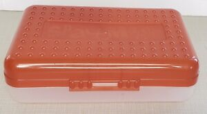 Spacemaker Pencil Box Red & Frosted Clear Storage Case Vintage 90s USA