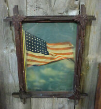 "Antique Adirondack Frame Old Glory Flag Picture 9.5"" x 13.5"""