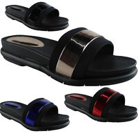 Womens Ladies Super Comfy Plain Rubber Sliders Flats Shoes Slides Slippers Size